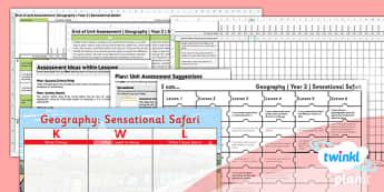Geography: Sensational Safari Year 2 Unit Assessment Pack