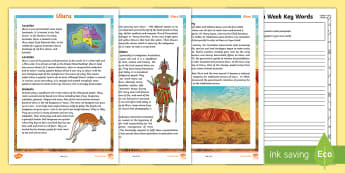Uluru Key Words Activity Sheet - Ayers Rock, Australian landmark, worksheet, Main idea, paraphrasing, writing, reading