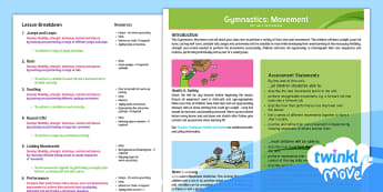Twinkl Move PE - Y4 Gymnastics Movement: Planning Overview - objectives, aims, resources, skills, assessment, planning, indoor, gym, balance, rolls, leaps, perfo