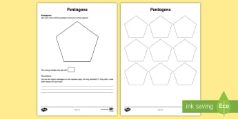 Pentagons Maths Investigation Activity Sheet - pentagram, polygon, sequence, pattern, investigate, tessellation, worksheet