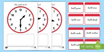 Uhrzeiten: halb Memorykarten - Zeit, Uhr, Uhrzeit, Uhr lesen, Stunden, Minuten,,German