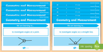 Australian Geometric Reasoning Content Descriptor Display Posters  - Angles, Geometric Reasoning, Learning Intentions, Learning Goals, We are learning statements, class