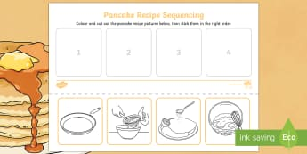 Pancake Recipe Sequencing Activity - Pancake Day UK Feb 28th, shrove Tuesday, pancakes, lent, ash wednesday, sequence, recipe,