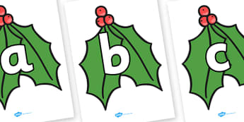 A-Z Alphabet on Holly Leaves - Christmas, xmas, holly, advent, nativity, santa, father christmas, Jesus, tree, stocking, present, activity, cracker, angel, snowman, advent , bauble, A-Z,  Alphabet frieze, Display letters, Letter posters, A-Z letters,