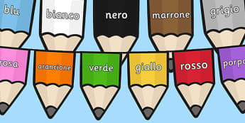 Colours on Pencil Bunting Italian - colours, pencil, bunting, italian, display
