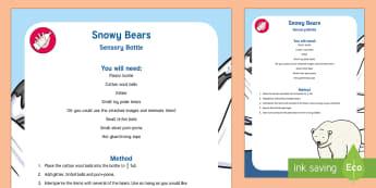 Snowy Bears Sensory Bottle - bears, snows, polar bears, sensory play, sensory bottle, baby play, toddler play, observation