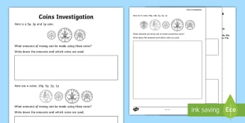 Coins Maths Investigation Activity Sheet - Money, coins, change, problem solve, challenge, worksheet, investigate, maths, mastery, ks1, 10p, 1p
