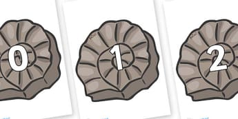 Numbers 0-100 on Fossils - 0-100, foundation stage numeracy, Number recognition, Number flashcards, counting, number frieze, Display numbers, number posters