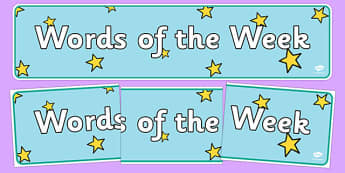 Words of the Week Display Banner - words of the week display banner, words, of the week, display banner, sign, DfES letters and Sounds, letters and sounds