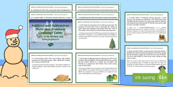 Christmas-Themed Addition and Subtraction Multi-step Word Problems English/Afrikaans - December, celebration, Christmas tree, Desember, fees, EAL