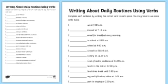 Writing About Daily Routines Using Verbs Worksheet - writing, routine