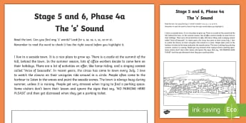 Northern Ireland Linguistic Phonics Stage 5 and 6, Phase 4a, 's' Sound Text Worksheet / Activity Sheet  - NI, Irish, Sound Search, Investigation, Phoneme, Grapheme, Letter