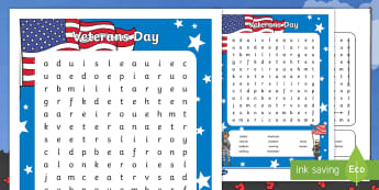Veterans Day Word Search - Army, Navy, Air force, coast guard, marines