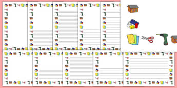 Construction Area Page Borders - construction area, construction, area, page border, border, writing template, writing aid, writing, stapler, sticky, cut, cutting, scissors, making, design, designing, creative, creativity