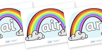 Phase 3 Phonemes on Rainbows - Phonemes, phoneme, Phase 3, Phase three, Foundation, Literacy, Letters and Sounds, DfES, display