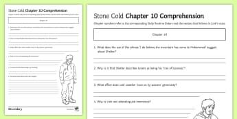 'Stone Cold' Chapter 10 Comprehension Activity Sheet - Swindells, Comprehension, Shelter, Link, Assess