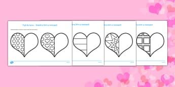 Inimioare - Fișe simetrice - ziua îndrăgostiților, Valentine's Day, fișe simetrice, colorat, dăruit, materiale, materiale didactice, română, romana, material, material didactic