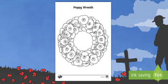 Poppy Wreath Colouring Page - Remembrance, Sunday, Key Stage One, November, Commonwealth, War, Parades, Silences
