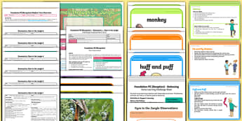 Foundation PE (Reception) - Gymnastics - Gym in the Jungle Unit Pack - EYFS, PE, Physical Development, Planning