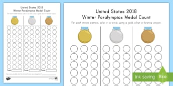 United States 2018 Winter Paralympics Medal Count Activity Sheet - Number Skills, Paralympic Athletes, pyeongChang 201, worksheet