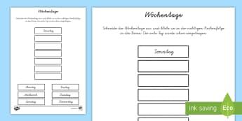 Wochentage Arbeitsblatt - Tage der Woche, Montag, Dienstag, Mittwoch, Donnerstag, Freitag, Arbeitsblatt,German