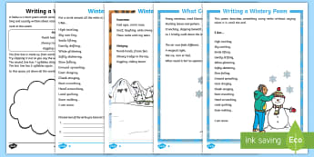 KS1 Winter Poetry Resource Pack - understanding poetry, reading comprehension, haiku poetry, writing poetry, poetry techniques