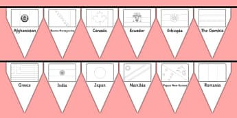 Flags of The World Colouring Bunting - Flags of the world, flags, world, country, countries, colouring, fine motor skills, poster, worksheet, vines, A4, display, bunting, buntings, all around the world, worldwide, flag, around the world, globe