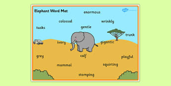 Safari Elephant Word Mat - safari, safari word mat, safari lion word mat, elephant word mat, safari animals word mat, elephant descriptive word mat