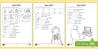 Base Verbs Gap Fill Differentiated Activity Sheet - Verb, Verb Form Agreement, base verb form, root verb, Pronouns, Grammar, SPAG