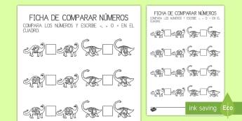 Ficha de comparar números: Dinosaurios - Dinosaurios, pre-historia, dinos, tiranosaurio, estegosaurio, triceratops, proyectos, aprendizaje ba