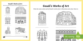 Gaudí's works of art Activity Sheet - art, architecture, architect, modernism, Gaudí