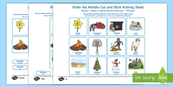 Months of the Year Cut and Stick Activity Sheet English/Polish - Months of the Year Cut and Stick Activity Sheet - months, year, cut, stick, months of the yearenglis