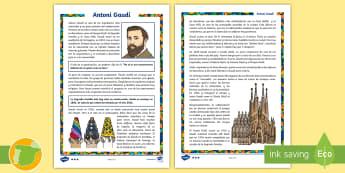 Comprensión lector de atención a la diversidad: Gaudí  - Gaudí, modernismo, comprensión lectora, arquitectura,Spanish