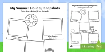 Summer Holiday Snapshots Writing Frame English/Portuguese - meerkat mail,  transition, writing aid, back to school, new class, summertime, Timw, trasition, bump