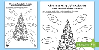 Christmas Fairy Lights Activity Sheet English/German  - Holidays, drawing, colouring, colours, EAL, German, English-German,,German-translation