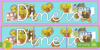 Pancarta: Dinero - euro, monedas, billetes, mates, mural, exponer, decoración,Spanish