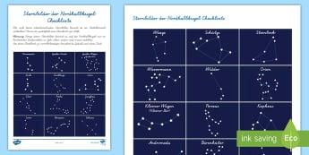Sternbilder der Nordhalbkugel Checkliste - Sterne, Sternzeichen, Horoskop, Teleskop, Nacht, Mond, Milchstraße,,German