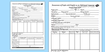 EAL Initial Pupil Profile Form EAL Urdu - urdu, class management, ourselves, EAL