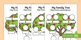 My Family Tree Worksheet / Activity Sheet English/Polish - My Family Tree Worksheets - Family tree, family tree template, my family, parent, mum, dad, grandpar