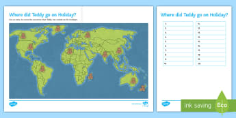 Where Did Teddy Go on Holiday? Worksheet / Activity Sheet -  geography, countries, globe, atlas, countries, travel, holiday, worksheet, world, teddy, country