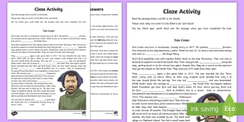 Tom Crean Cloze Worksheet / Activity Sheet - English, Cloze Activity, Tom Crean, assessment, reading, comprehension, worksheet, fill in the blank