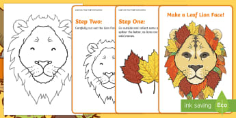 Leaf Lion Face Craft Instructions - Autumn, nature, tree, create, collage