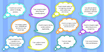 Year 6 Maths Assessment Targets on Speech Bubbles - maths, target
