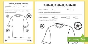 Football Activity Sheet - Sports, Football, German, MFL, Languages, Fußball, Trikot,Sport, Hobby, Hobbies, Deutsch, worksheet