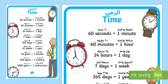 Time Display Poster Arabic/English - time, minutes, hours, telling the time, time measurement, measure, clocks, Arabic-translation