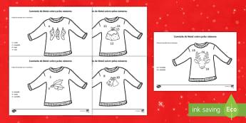 Camisola de Natal, colore pelos números - natal, natais, celebraçao, festa, natividade, solsticio de inverno, inverno, pai natal, papai noel,