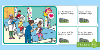 Hospital Scene and Question Cards Question Cards - everyday life, hosptial, people who help us, inference, retrieval, comprehension pack,comprehesion,c