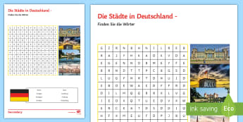 German Cities and Towns Worksheet / Activity Sheet - Word search, German, Introduction, Culture, Fun,German