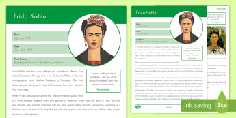 Significant Mexican: Frida Kahlo Fact File - Frida Kahlo, SIgnificant Mexican, Mexican Heritage, Mexican Painter, Mexican Artist, Woman Artist, D
