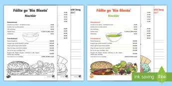 Biachlár Cómhra Beirte – Drámaíocht beag Worksheet / Activity Sheet - Biachlár, Bia, Bialann, freastalaí, comhrá, beirte,Irish, role play